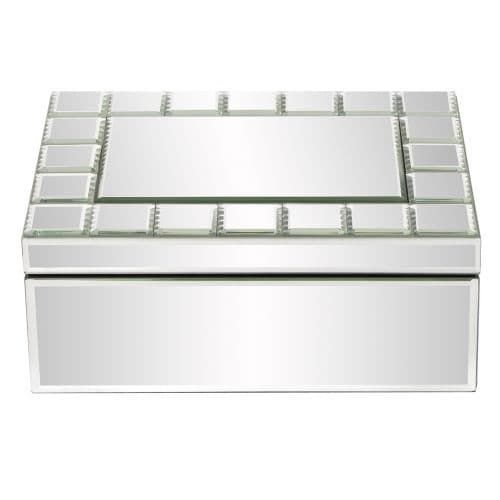 Howard Elliott Mirrored Rectangular Jewelry Box 11.5 Wide Glass and Wood Mirrored Jewelry Box