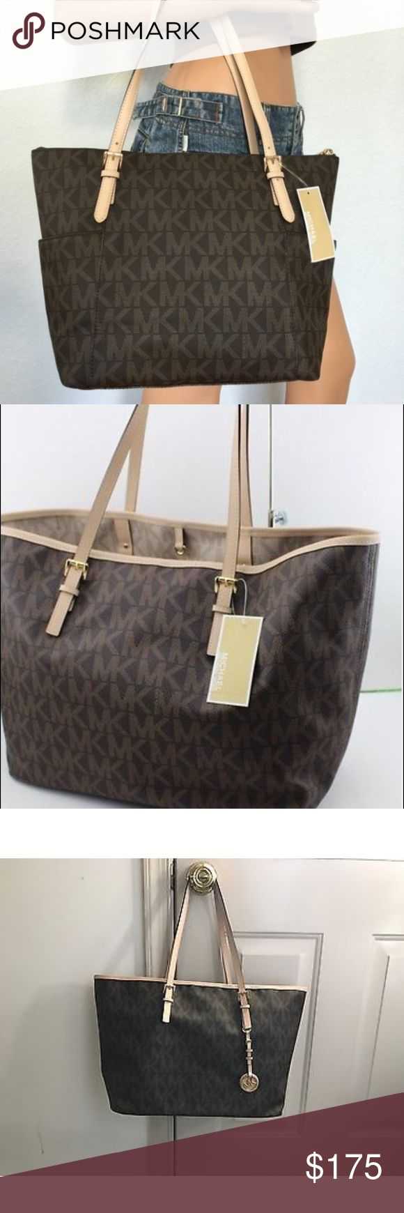 """Authentic MK jet set handbag MICHAEL KORS BROWN JET SET EW MK PVC   BRAND NEW WITH TAGS 100% AUTHENTIC  A classic silhouette made for a sophisticated, modern MICHAEL Michael Kors bag Double handles with 9 1/2"""" drop Buckled shoulder straps Side exterior slip pockets Michael Kors lining Gold-tone hardware; detachable logo  Interior features zip pocket, 4 slip pockets and key fob 12"""" Bottom/ 16 1/2"""" Top W x 11 1/2"""" H x 4 1/2"""" D Polished with GOLD tone hard ware COLOR: Brown MICHAEL Michael Kors…"""