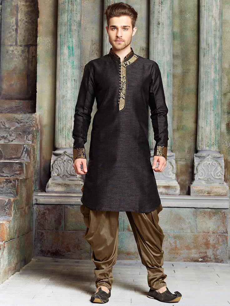 Black Silk Solid Kurta Suit