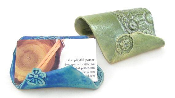 Business card holder  floral turquoise and olive by PlayfulPotter, $12.00