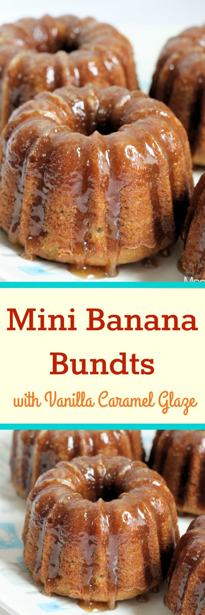 Mini Banana Bundt Cakes with Vanilla Caramel Glaze
