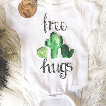 FREE HUGS/ Cactus/ Cactus Bodysuit/ Baby Tee/ Toddler/ Boho/ Baby Shower