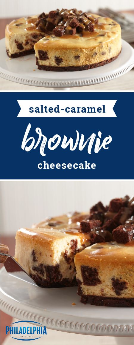 Salted Caramel Brownie Cheesecake – Looking for a star dessert to try out this holiday season? Check out this delicious combination of fudge brownies, salted caramel, and PHILADELPHIA Cream Cheese! The best part is that this recipe is ready for the oven in just 15 minutes!