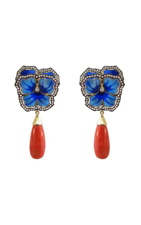 Enamel Pansy and Coral Earrings