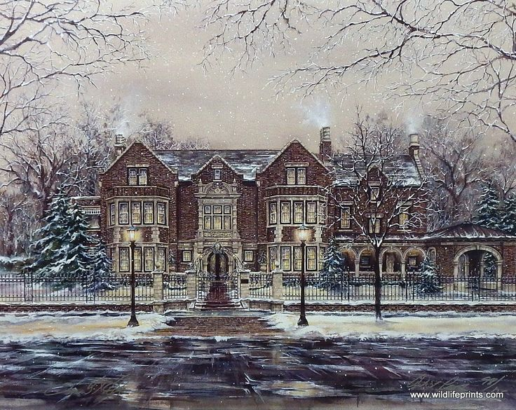 The Governor's Mansion in St. Paul Minnesota is portrayed here by Susan Amidon during a snowy winter. This print is signed and numbered and is available unframe