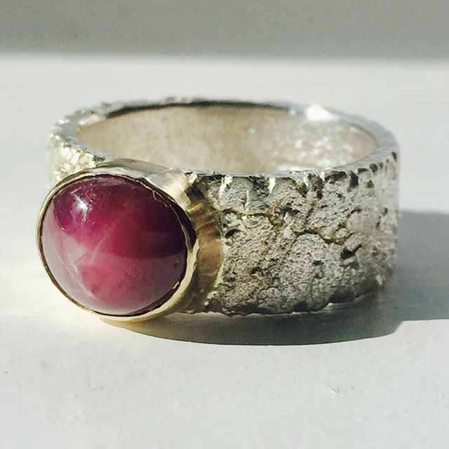 A commission ready to post. We've reset their star ruby into this organic ring. #ruby #starruby #handmadejewelry #handmade #handmadejewellery #bespoke #silver #silverring