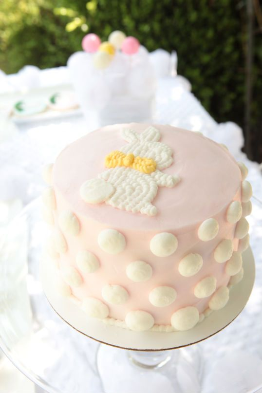Cake with lots of bunny tail dots: