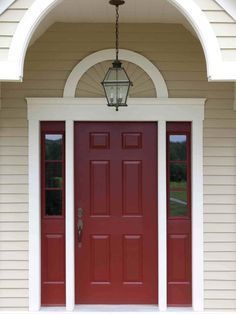 this deep red = a more classic design , i like a brighter, more poppy red for your house, what do you think? - crimson front door with tan house - Google Search
