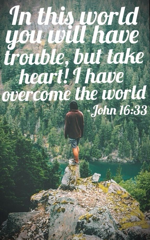 My Favorite verse of all times! :) John 16:33 (ESV) ~ I have said these things to you, that in me you may have peace. In the world you will have tribulation. But take heart; I have overcome the world.