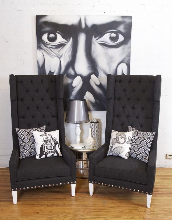 tangier wing chair dark gray tweed