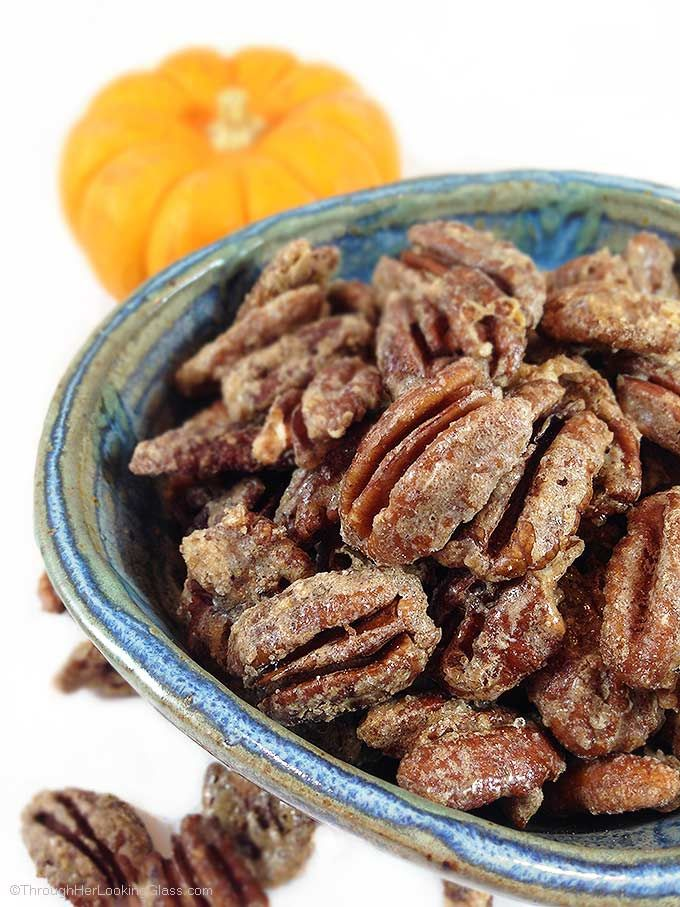 Pumpkin Spice Sugared Pecans. Sweet and crunchy. Perfect for snacking or gifting. Addictive topper for salads, ice cream or cheesecake.