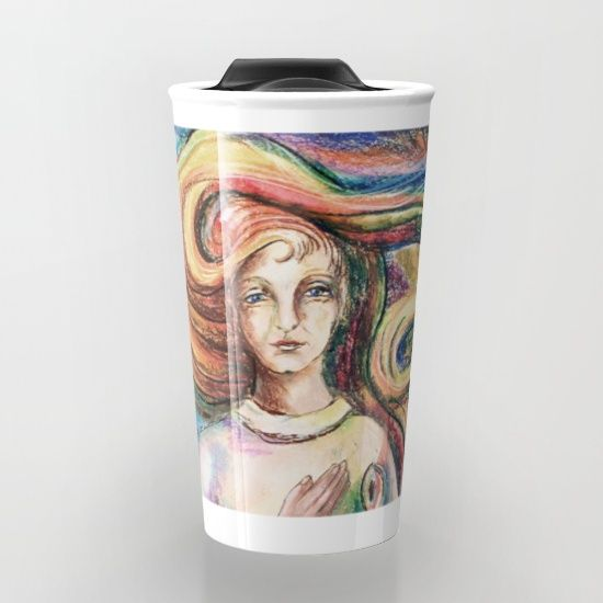 "Take your coffee to go with a personalized ceramic travel https://society6.com/product/archangel-michael-jcn_travel-mug#s6-1722192p46a59v436mug.  Double-walled with a press-in suction lid, the two-piece (12oz) design ensures long lasting temperatures while minimizing the risk of spillage from kitchen to car to office. Standing at just over 6"" tall with wrap around artwork, safely sip hot or cold beverages from this one of a kind mug."