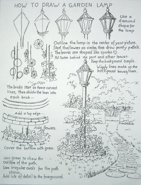 How to draw a garden lamp post worksheet- and other drawing tutorial worksheets.