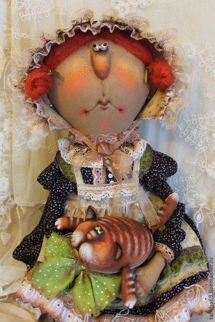 Коллекционные куклы ручной работы. Ярмарка Мастеров - ручная работа Миссис Котиссис и рыжий Кот. Handmade.