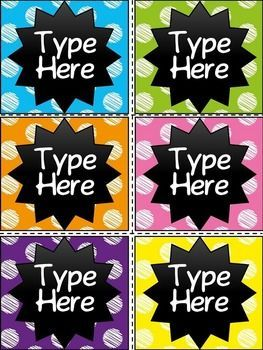Editable Chalkboard & Scribble Polka Dot Labels  contains 6 labels in Scribble Polka Dot theme.