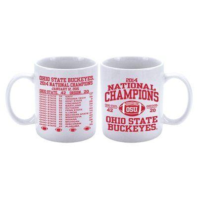 Ohio State Buckeyes White 2014 College Football Playoff National Champions 15oz. Schedule Mug