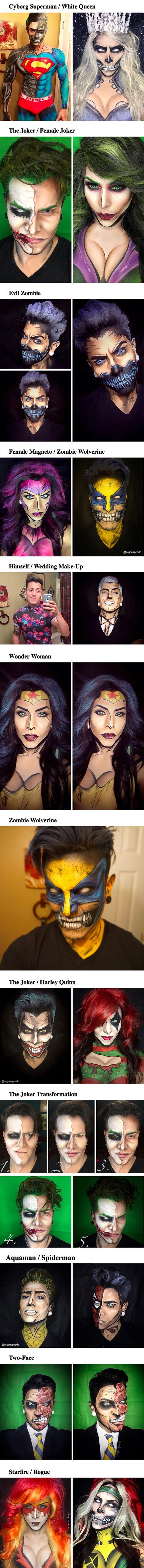 Argenis Pinal, a makeup artist based in Temecula, California, doesn't need a costume to look like a superhero – he uses his fantastic makeup and body paint skills to change his entire appearance. With the right lines and colors, he can become a zombie Wolverine, cyborg Superman, or any one of hundreds of other cool remixed superheroes that he loves to paint on himself.