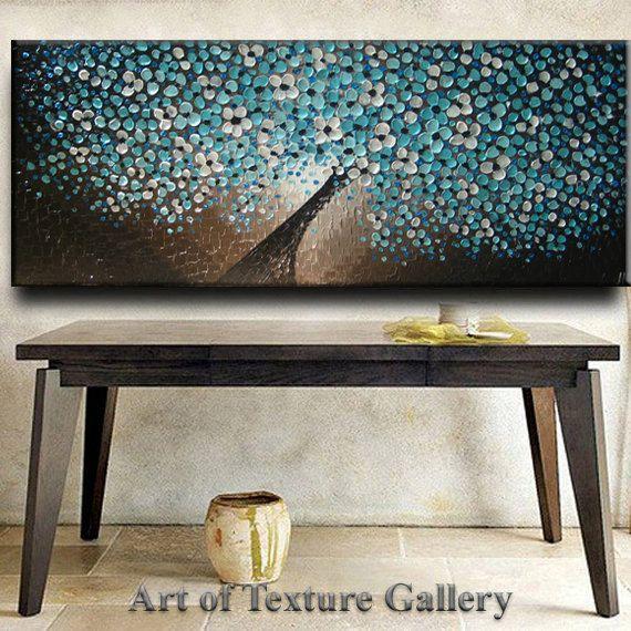 72 x 30 pintura al óleo Original textura abstracta