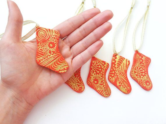 Christmas Stocking Ornament 1pc Polymer Clay Tree by FairyDustHC