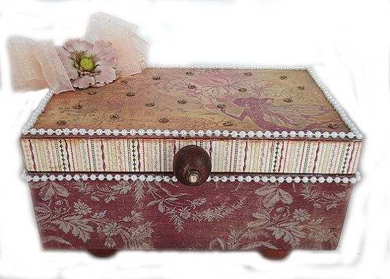 Keepsake Box Jewelry Box Embellished Box by eclecticmoon on Etsy