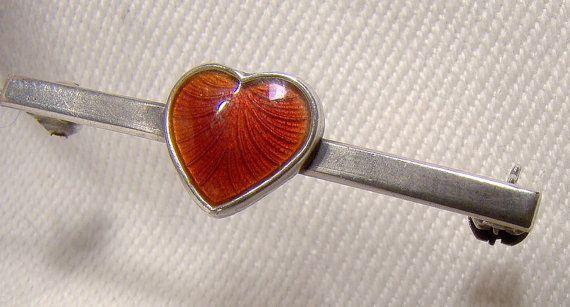 Danish Modern Sterling Enamel Heart Pin by FionaKennyAntiques #VolmerBahnerpin