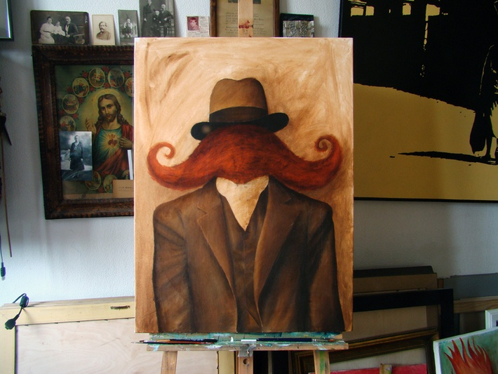progress: *mustache man* by Robert Romanowicz, via Behance