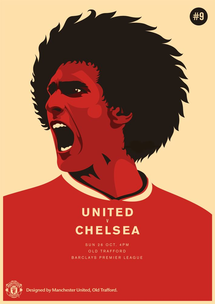 Match poster. Manchester United vs Chelsea, 26 October 2014. Designed by @manutd.