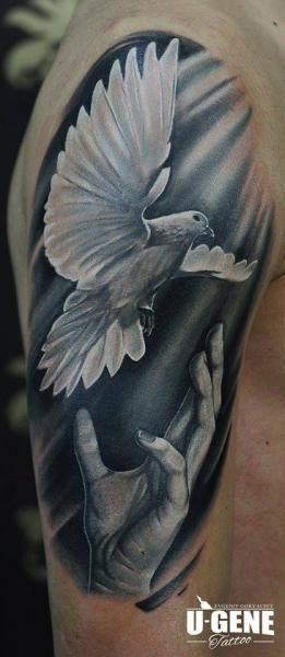 Shoulder Dove Hand Tattoo by Redberry Tattoo