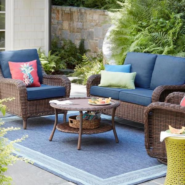 Hampton Bay Cambridge Brown Wicker Outdoor Patio Swivel Rocking Chair With Standard Midnight Navy Blue Cushions 65 17148b4 The Home Depot Outdoor Furniture Cushions Patio Furniture Layout Aluminum Patio Furniture