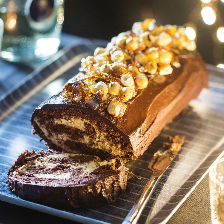 Chocolate roulade with hazelnut cream & hazelnut croquant