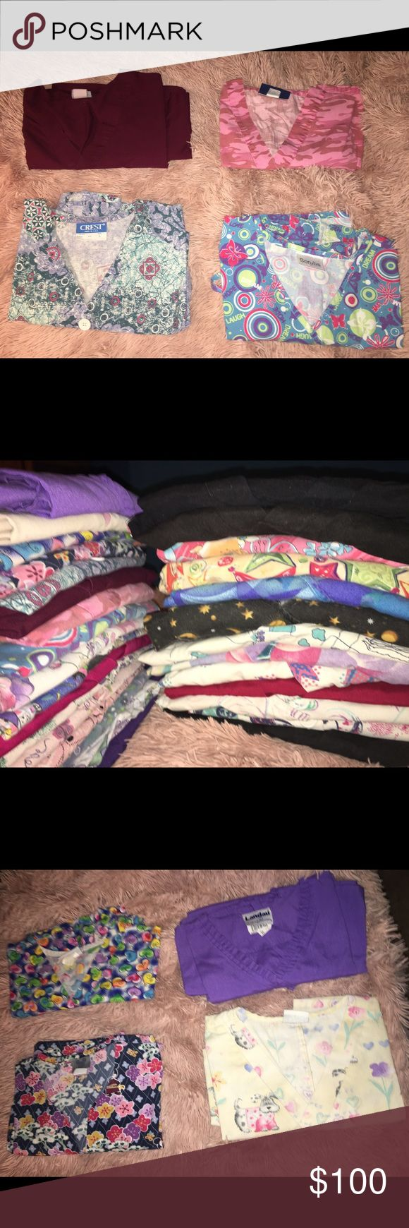 Scrubs for sale! Selling used scrubs that are in good condition. The sizes vary from M, L, and a couple XL! There is a variety of colors and patterns. Not everything is pictured due to limited picture space. The total amount of clothing is 40 tops, 18 pants, and 15 jackets! There is 73 item total for a very good price!! Other