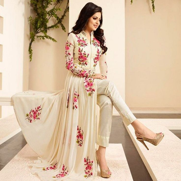 Drashti+Dhami+Georgette+Cream+Floral+Print+Semi+Stitched+Pant+Style+Suit+-+CSS at Rs 1649