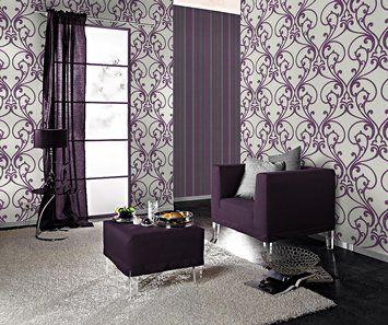 Rasch Glamour 404647 Włókniny Tapeta Floral Lilac Glitter: Amazon.co.uk: DIY i narzędzia