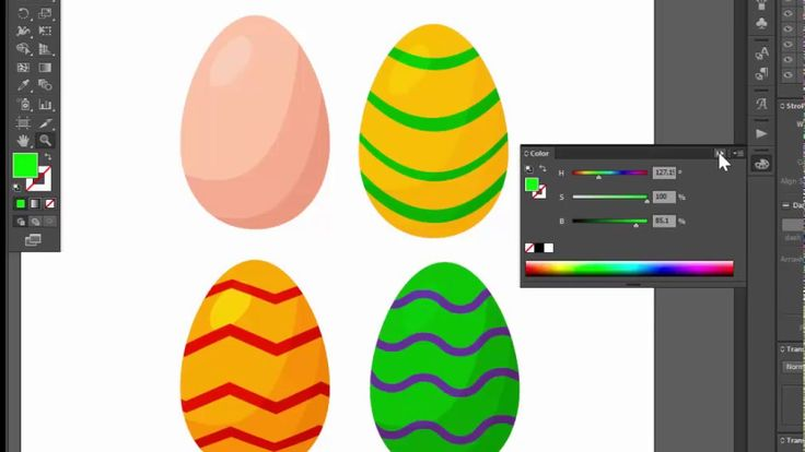 Easter eggs - Adobe Illustrator cs6 tutorial. How to create simple vecto...