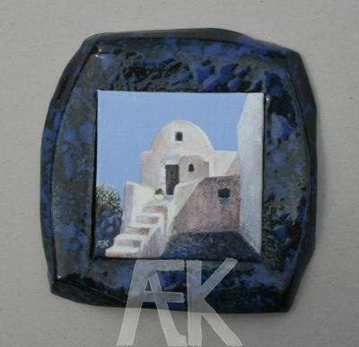 Santorini, Griekenland - Anita Eijken-Kaan -  Olieverf Afmeting: 17 x 17 cm Eigen gemaakte keramieken lijst --- Oil painting Dimensions: 17 x 17 cm Handmade ceramic frame
