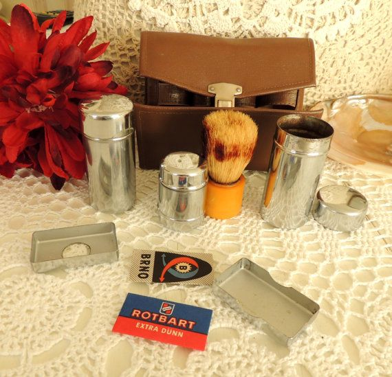 Shaving Set Kit Vintage Travel Set Shaving Case Mirror