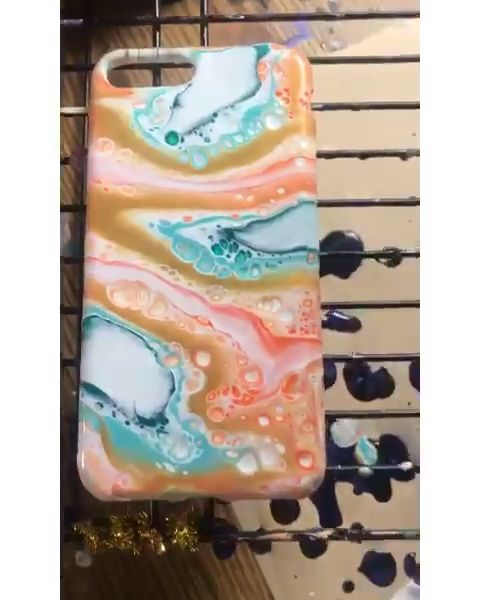 Fluid art on dollar tree cell phone case with acrylic pouring puddle pour