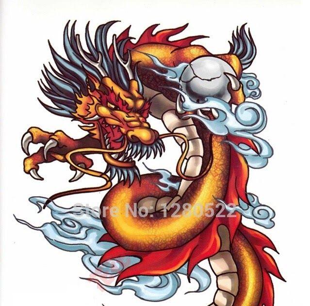 Gambar Tato Naga Temporer Us 6 89 1pcs 2015 Hot Skull 3d Dragon Temporary Tattoo Stickers Large Tattoo Pink Wallpaper Backgrounds White Tattoo Large Tattoos