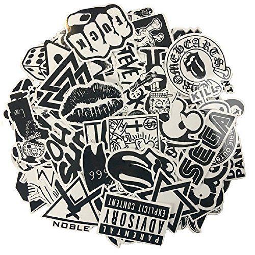 120PCS Autocollant en vinyle blanc noir Sticker Graffiti Parfait pour les ordinateurs portables, les planches à roulettes, les bagages, les…