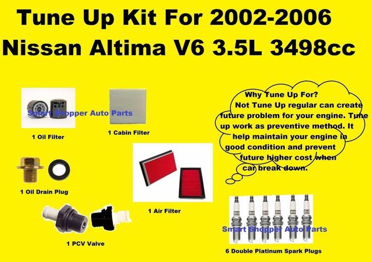 Tune Up Kit For 2002-2006 Nissan Altima V6 Spark Plug, Oil Air Cabin Filter PCV