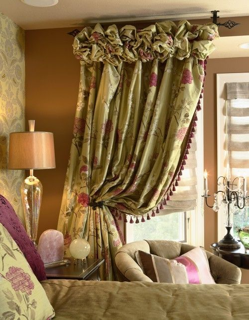 I like the ruched heading on these curtains. They would be great in linen.