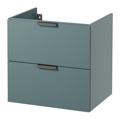 GODMORGON Armário p/lavatório e 2 gavetas, turquesa acinzentado turquesa acinzentado 60x47x58 cm