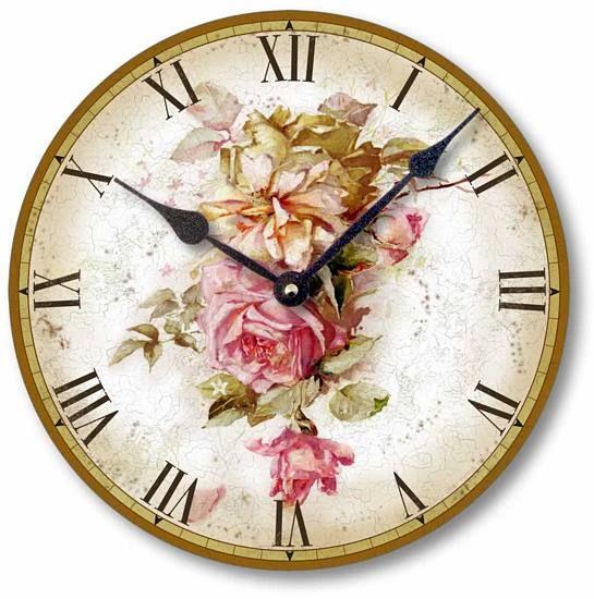 Vintage Style Pink Roses Clock