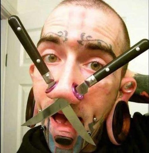 Extreme Tattoos:  http://theberry.com/2011/05/09/too-bad-that-tattoo-gun-didnt-have-an-eraser-29-photos/