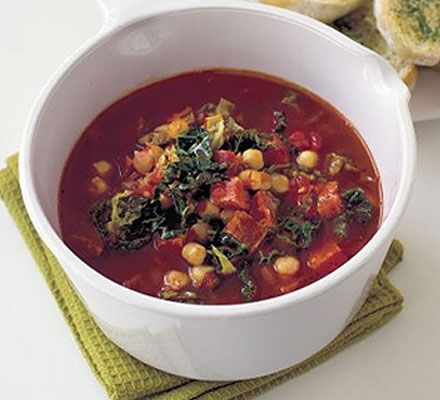 Chorizo & Chickpea Soup    366 kcalories, protein 23g, carbohydrate 30g, fat 18 g, saturated fat 5g, fibre 9g, salt 4.26 g