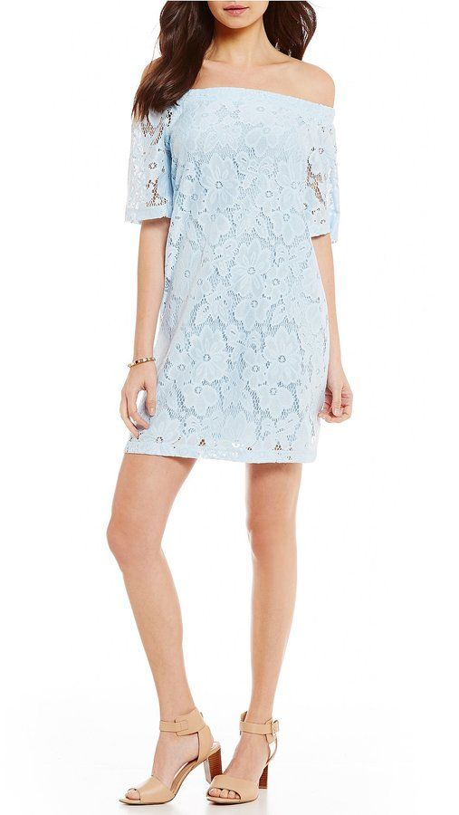 Donna Morgan Floral Lace Off-the-Shoulder Shift Dress