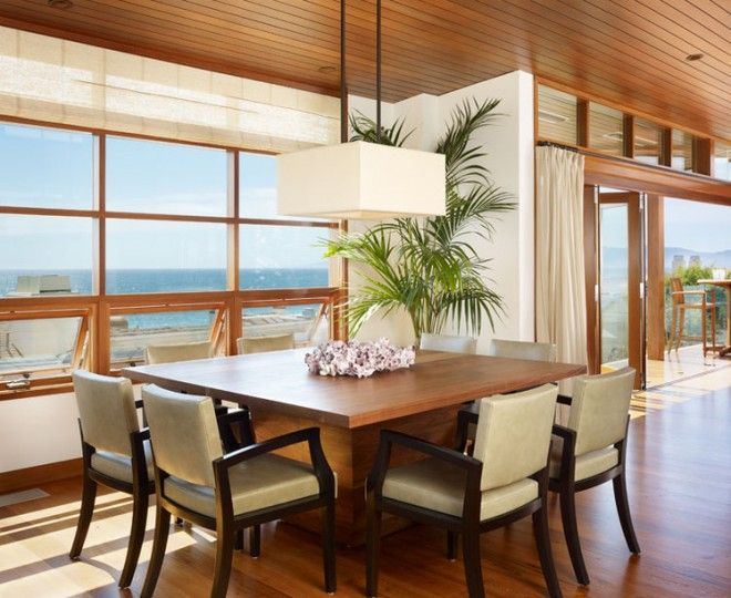 Sumptuous square dining table for 8 Tropical Dining Room