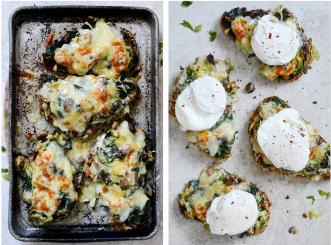 Broiled Fontina Toasts with Roasted Garlic and Poached Eggs
