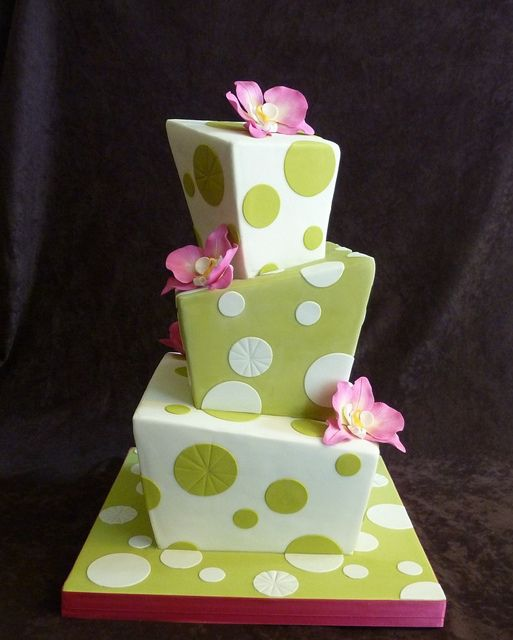 green whimsy wedding cake by Rebecca Sutterby