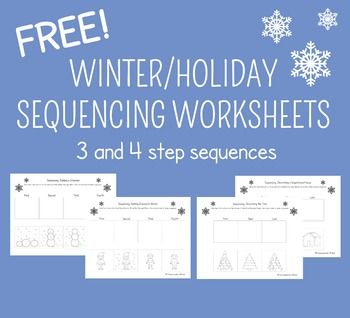 These FREE Winter Sequencing Cut and Glue Worksheets are for practicing 3 and 4 step sequences.The sequences included are:Decorating the Tree (3 step)Decorating a Gingerbread House (3 step)Building a Snowman (4 step)Getting Dressed for the Snow (4 step)Check out my blog post about all the great, free holiday activities for speech therapy on TPT for more freebies!Happy holidays!